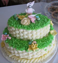 Going to make a two tier cake like this, except the bottom tier will look like grass and the top will be a basket weave with candy eggs, roses and lilies. :)