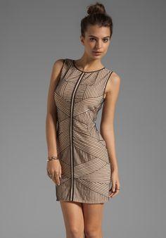 renzo + kai Stripe Beading Silk Dress in Nude/Black