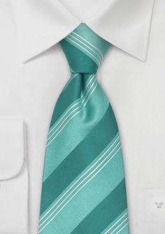 Krawatte türkis-grün Streifen