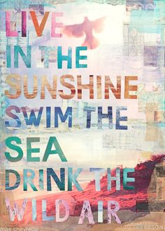 "Print of Mae Chevrette mixed media painting of Emerson quote: ""Live in the sunshine, swim the sea, drink the wild air."""