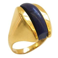 18k Gold and Lapis Lazuli Ring by Cartier