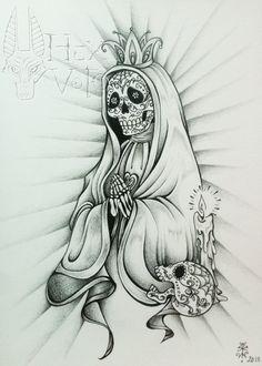 SANTA MUERTE - dessin original : Dessins par hex-voto