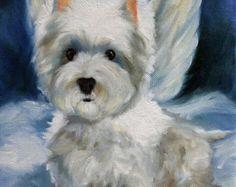 Alas de tela o acuarela papel impresión west highland terrier westie perro Angel halo / Mary Sparrow de colgar la luna Art Studio