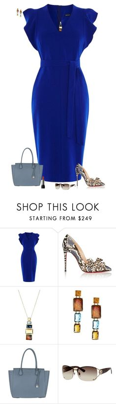 """Deep blue"" by julietajj ❤ liked on Polyvore featuring Karen Millen, Christian Louboutin, Ippolita, MICHAEL Michael Kors and Gucci"