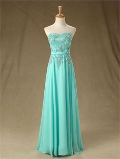 Gorgeous Sweetheart Lace Bodice Chiffon Skirt Beaded Lace Appliques Sheath Floor Length Prom Dress