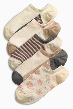 Buy Five Pack Low Rise Ditsy Footbed Socks from the Next UK online shop