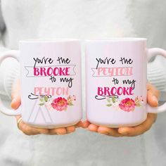 """best friend mugs """"you are the brooke to my peyton"""" christmas gifts, best friend birthday gift, tv shows, one tree hill mug, bff mugs MU311 by InstantGoodVibes on Etsy https://www.etsy.com/nz/listing/471380637/best-friend-mugs-you-are-the-brooke-to"""