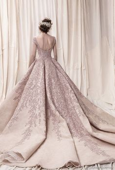 krikor jabotian spring 2018 bridal cap sleeves scoop neckline heavily embeliished blush color glamorous princess ball gown a  line wedding dress open scoop back royal train (08) bv -- Krikor Jabotian Spring 2018 Wedding Dresses