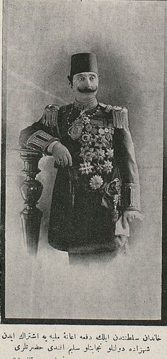 Portrait of Prince Mehmet Selim Efendi (1870 - 1937).  Early 20th c.  He was the eldest son of sultan Abdülhamid II.