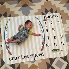 Baby Month Milestone Blanket- Floral - Girl - Personalized Baby Blanket - Track Growth and Age - New Mom Baby Shower Gift - Baby Boy Rooms, Baby Boy Nurseries, Baby Boys, Baby Pictures, Baby Photos, Fishing Nursery, Boys Fishing Bedroom, Baby Fish, Foto Baby
