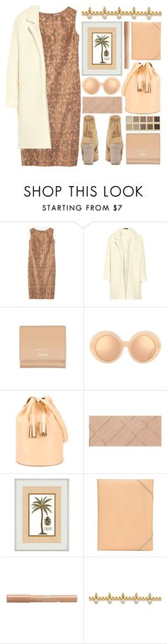 """lovely sunday"" by foundlostme ❤ liked on Polyvore featuring Maje, Gucci, LORAC, Linda Farrow, Building Block, Burberry, Isaac Reina, Bourjois, Joomi Lim and neutral"