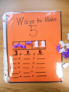 Creative way to get the students thinking about how many ways they can make 5. Halloween style. great for visual and hand on students. 7752