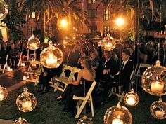 floating candles. intimate wedding ceremony.