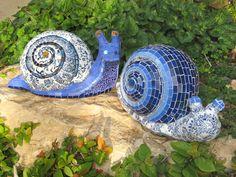 2 blue snails by Ayelet Bar