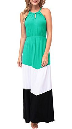 Kranda Ladies Summer Bohemian Halter Sleeveless Chevron Maxi Dress Medium Grass Green *** See this great product.