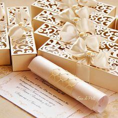 42 Ideas For Wedding Card Ideas Invitations Templates Box Invitations, Wedding Invitation Card Template, Scroll Wedding Invitations, Luxury Wedding Invitations, Wedding Boxes, Wedding Cards, Wedding Gifts, Wedding Trends, Wedding Designs