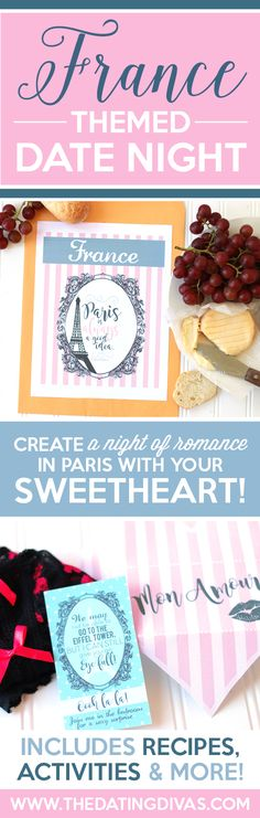 Fun printables for a French themed date night including an invitation, recipe cards, activities, and MORE! They actually have several countries to choose from so you can pick a different country each month and travel the world together on date night. I LOVE this idea for an anniversary gift! From www.TheDatingDivas.com