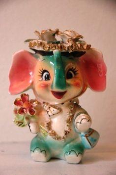 Vintage 1950s Kitschy Elephant Lady