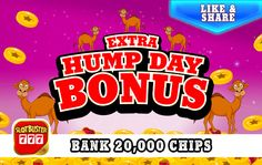 ☆☆☆ Extra Hump Day Bonus ☆☆☆ Love Chips? > https://apps.facebook.com/slotbuster?utm_source=fanpage&utm_medium=ExtraHumpDayBonus&utm_campaign=6152016&bonusPackId=16778 < Win Win Win #slotgames