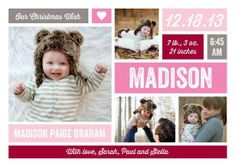 cute baby girl announcement.