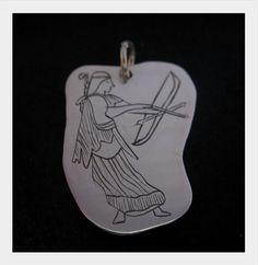 jewel/ handmade/ pendant/ 925 silver/ engraving/ Diana
