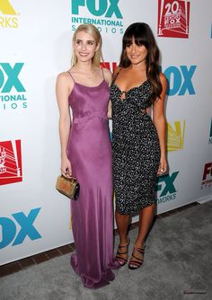 Lea Michele and Emma Roberts at the FOX FanFare event