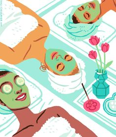 spa day with friends Illustration Mignonne, Beauty Illustration, Digital Illustration, Beauty Spa, Beauty Care, Beauty News, Frederic M, Poster S, Spa Party