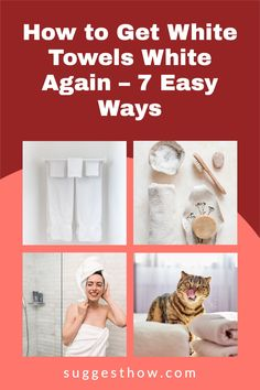 Say bye to dingy towels with these DIY fixes to keep your towels at its whitest. It is a fact that any white laundry gets dirty easily and is difficult to maintain. When your fluffy white towels begin to have stains, specks, graying and discoloring, you'll be wondering how to get white towels white again. #householdtips #cleaning #naturally Deep Cleaning Tips, Cleaning Walls, Bathroom Cleaning, White Towels, Organization Hacks, Housekeeping, Clean House, Laundry, Stains