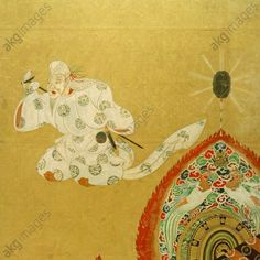 Detail. Bugaku Dance. Tawaraya Sotatsu. active 1st half of the 17th Century. From the legend of Prince Genji (Genji monogatari).  Detail from a folding screen (part of a pair). A raryoo and a genjoraku dancer. Pigment and gold leaf on paper, Kyoto, Daigo-ji Temple, Nara National Museum.