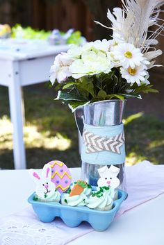 Pretty decorations at a Easter Egg Hunt!  See more party ideas at CatchMyParty!