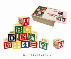 Classic baby and toddler alphabet blocks. So vintage! How retro! Boxed in it's own wooden box with 48 pieces of blocks. Watch baby build them up and knock them down and then learn their alphabet as they grow up.  Non toxic paint used