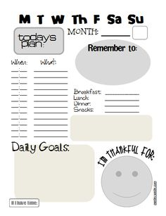 Daily Planning Sheet with today's plan, daily goals, things thankful for and to remember!