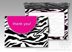 Wild Zebra Stripes Pink Thank You Cards