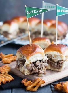 Tender shaved steak, fried onions and mushrooms, melty cheese and a buttery toasted bun make these sliders a delicious choice for game day. Free printable pennants make them fun! Shaved Beef Steak Recipe, Beef Steak Recipes, Philly Cheese Steak Sliders, Chicken And Biscuits, Slider Recipes, Sandwich Recipes, Creamy Chicken, Light Recipes, Cheesesteak