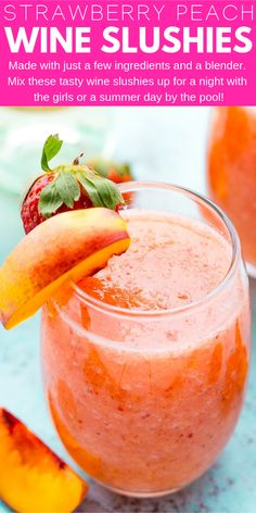Strawberry Peach Wine Slushies - Over 40 of the BEST Summer Cocktails Refreshing Summer Cocktails, Fun Cocktails, Cocktail Recipes, Best Summer Drinks, Cocktail Food, Sangria Recipes, Wine Slushie Recipe, Pool Drinks, Fruit Drinks