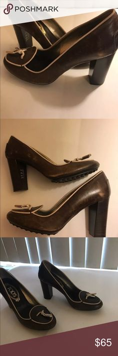 Tods Brown heels Thy are new shoes bought them like this in the store so I don't know if they should be like that!! Tod's Shoes Heels