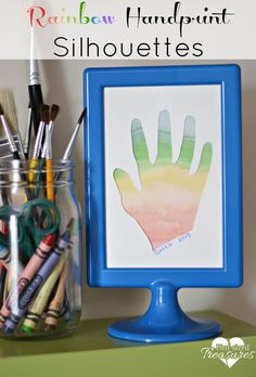 RAINBOW HANDPRINT SILHOUETTES They're creative, sweet and gorgeous! This is probably my favorite rainbow craft ever -- it's just TOO precious! @alicanwrite