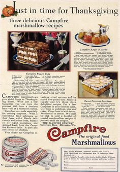 1926 Ad Campfire Marshmallows Tin Recipes Just in Time For Thanksgiving Vintage 1920s or House Plans Either side Great to Frame