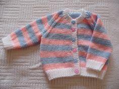 pink/blue/white baby cardigan
