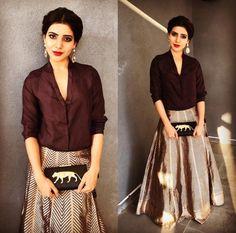 Samantha Ruth Prabhu in a Shirt Lehenga holding a Sabyasachi purse