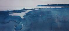 2008. Rügen, Nordküste bei Nonnevitz. Aquarell, Bütten lanaquarelle. 573x255. Christoph Rosenow.jpg (2100×947)