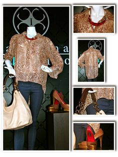 """Blusa de chiffon animal print """"Aziza"""" y jegging """"Perla"""" by Carolina Izquierdo, zapatos Ile Miranda y cartera Me Accessories"""