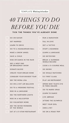 40 Things To Do Before You Die Instagram Story Template by @kelseyinlondon #InstaStory #StoryTemp #InstagramStory #StoryTemplate #InstagramStoryTemplate #InstagramTemplate #Checklist #BucketList #BeforeYouDie #ThingsToDoBeforeYouDie #DoBeforeYouDie