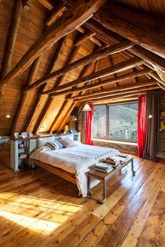 Rustic Industrial Bedroom Decor Ideas: How To Design A Rustic Bedroom That Draws You In Attic Renovation, Attic Remodel, Cabin Homes, Log Homes, Sweet Home, Industrial Bedroom, Rustic Industrial, Attic Rooms, Attic Playroom