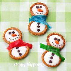 Winter themed treats - Frosty Snowman Pretzels~Hungry Happenings