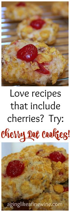 Cherry cookies that won't disappoint the cherry lover!  #cherries #cookies #Kelloggs #KelloggsCornFlakes