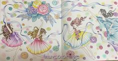 """Instagram media luvcoloriage - 2016.06.07 妖精さんの見開き全体です(*´∀`)久々にちゃんと見開きページ塗りました(^◇^;)左から2番目の子がお気に入りです(*´∀`) A page from """"Princesses and Fairies Coloring Book"""", colored by Polychromos and Holbein colored pencils. #コロリアージュ #大人の塗り絵 #大人のぬり絵 #塗り絵 #ぬりえ #お姫さまと妖精のぬり絵ブック #田代知子 #妖精 #princessesandfairiescoloringbook #tomokotashiro #fairies #coloring #colouring #coloriage #coloringbook #moncoloriagepouradultes #coloriagenostress #arte_e_colorir #adultcoloring #desafioscoloridos #nossa_vida_colorida"""
