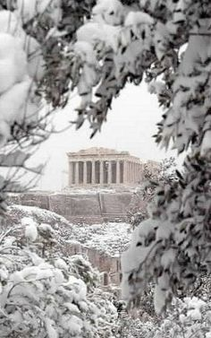 Acropolis under the snow, Athens, Greece. Wow! Been here but in summer. This is beautiful