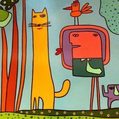 Unusual Art, Wonderful Picture, Beginner Painting, Aboriginal Art, Outsider Art, Cat Art, Art For Kids, Graffiti, Art Photography