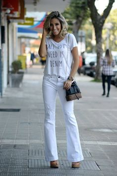 looksly - Camila Milagres com look all white de t-shirt e calça flare do Verão 2016